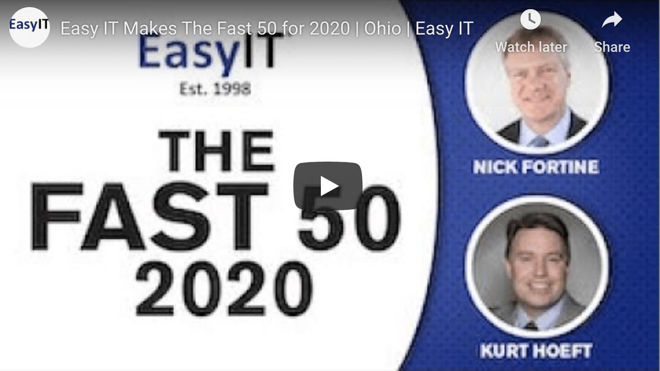 EasyIT Makes the Fast 50 Award Winner for 2020!
